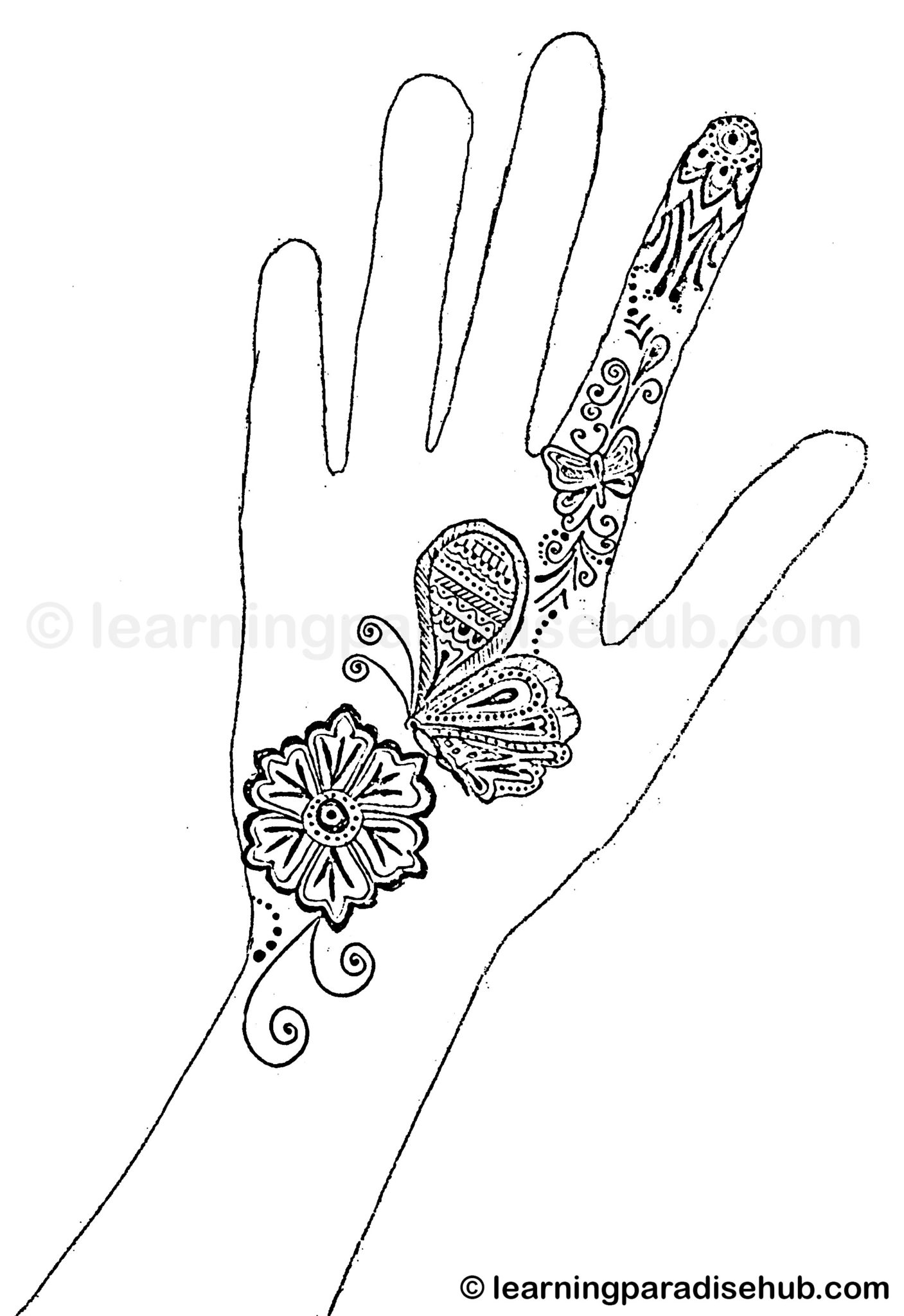 one line butterfly mehndi design